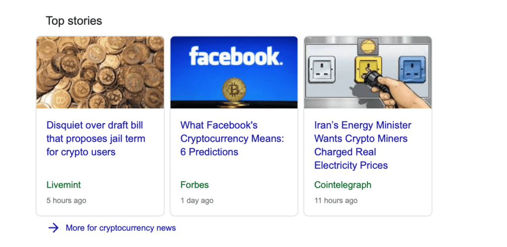 Google Top Stories Crypto