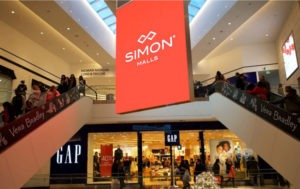 Shares of Simon Property Group are down