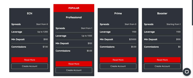 reviewing account types of INGOT brokers